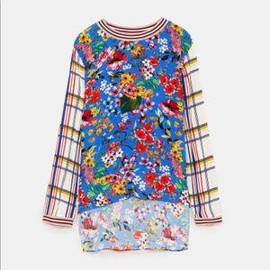 ZARA rainbow floral plaid ringer long sleeve top S